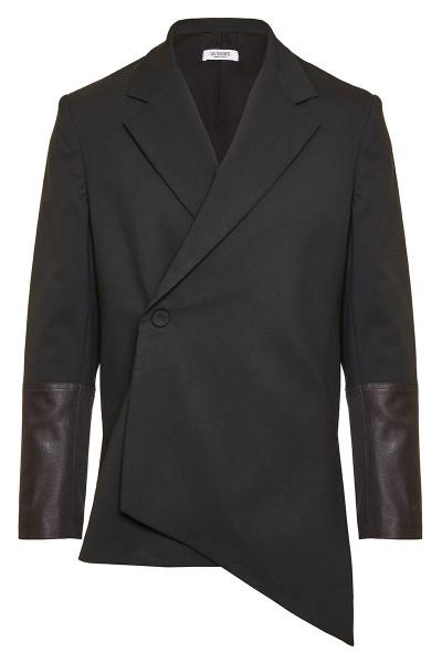 Asymmetric Cross Button Blazer With Leather Cuff Detail