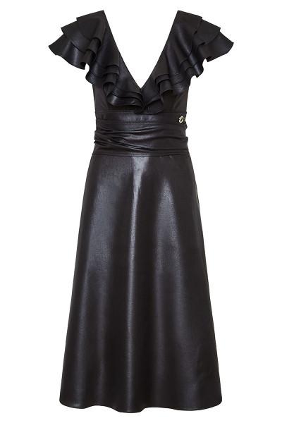 Δερμάτινο Μίντι Φόρεμα Με Βολάν Στους Ώμους
