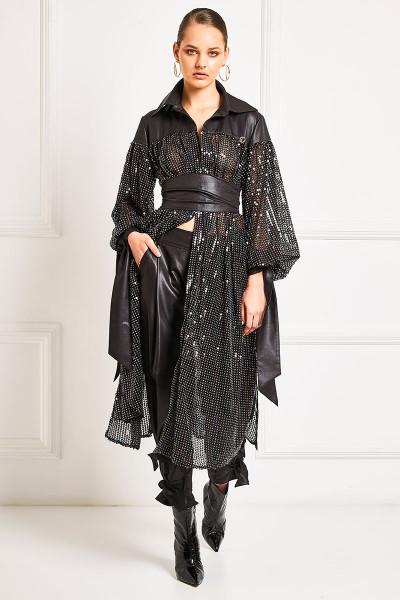 Πολύχρωμο Σεμιζιέ Φόρεμα Παγιέτα Με Δερμάτινες Λεπτομέρειες