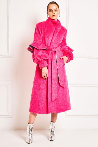 Μάλλινο Παλτό Με Όψη Γούνας Και Βολάν Στα Μανίκια