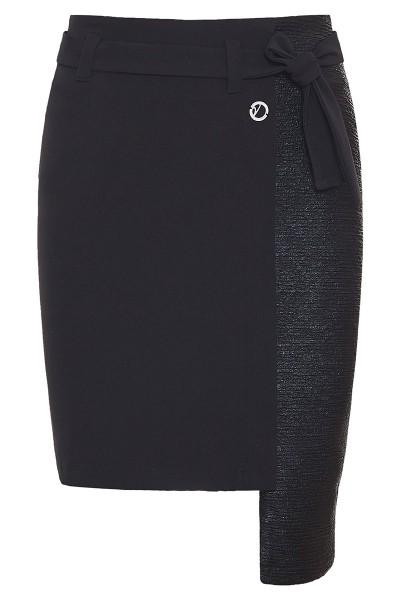 Ασύμμετρη Κοντή Φούστα Με Λεπτομέρεια Ανάγλυφου Δέρματος