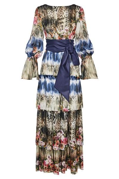 Μακρύ Τσιγγάνικο Φόρεμα Εμπριμέ Με Βολάν Και Μανίκια Καμπάνα