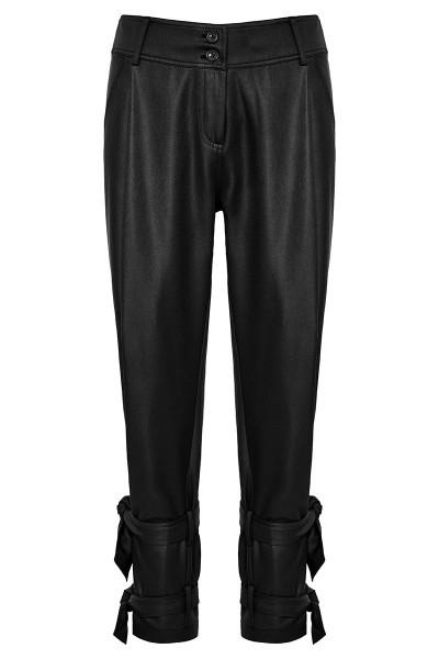 Δερμάτινο Παντελόνι Με Πιέτες Και Δέσιμο Στον Αστράγαλο