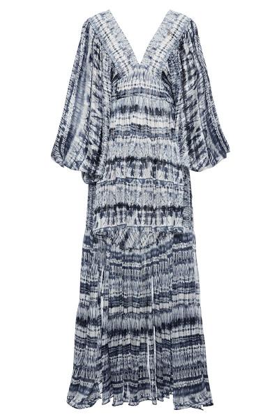 Μακρυμάνικο Εμπριμέ Φόρεμα Με Ασύμμετρα Μήκη Και Βαθύ Ντεκολτέ