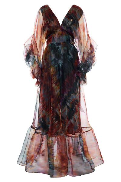 Μακρύ Φόρεμα Οργάτζα Με Ασύμμετρα Μανίκια Balloon Και Τελείωμα Βολάν