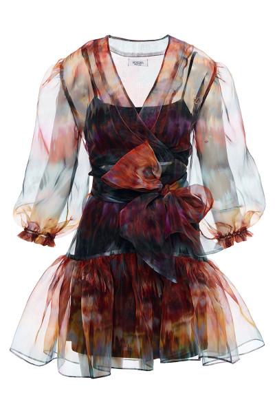 Κοντό Φόρεμα Εβαζέ Με Εντυπωσιακά Μανίκια Φούσκα Και Ενσωματωμένη Ζώνη