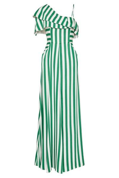 Μακρύ Φόρεμα Αμπίρ Με Διπλό Γιακά-Μανίκι Και Μπροστινή Πιέτα