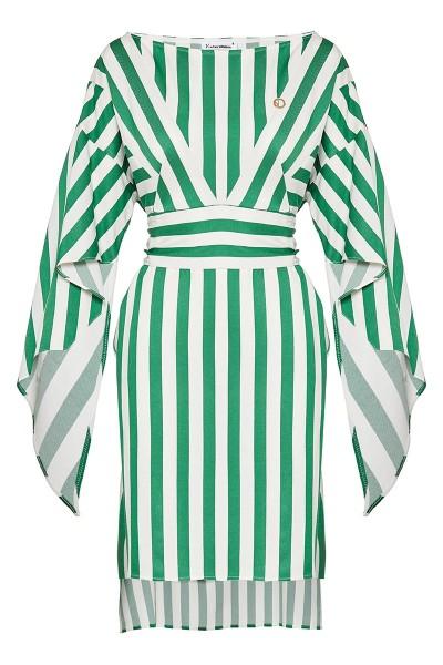 Φόρεμα Με Οβάλ Λαιμόκοψη, Μανίκια Με Λοξό Βολάν Και Τσέπες