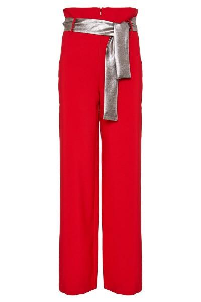 Ψηλόμεση Παντελόνα Με Τριγωνικές Τσέπες Και Μακριά Ασημί Ζώνη