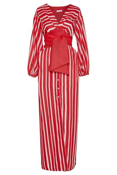 Μακρύ Σεμιζιέ Φόρεμα Σε Ημιδιάφανο Ανάγλυφο Ριγέ Ύφασμα Με Μακριά Μανίκια Φούσκα