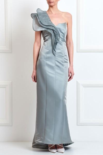 Φόρεμα Μακρύ με Εντυπωσιακό Γιακά