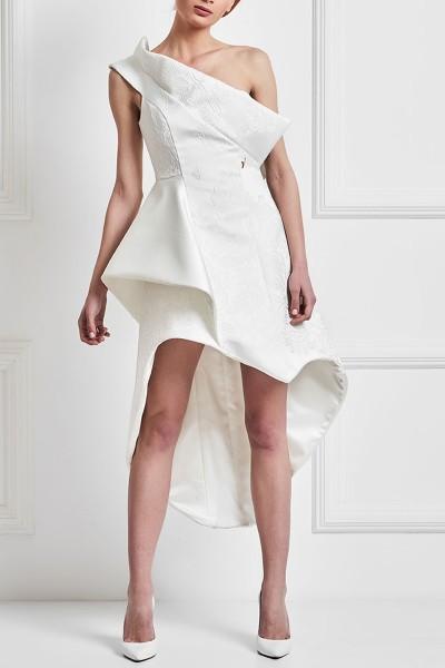 Κοντό Μπροκάρ Νυφικό Φόρεμα