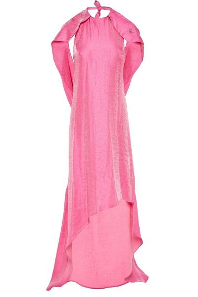 Φόρεμα Εξώπλατο Με Ασύμμετρο Μήκος Και Ντραπέ Λεπτομέρεια