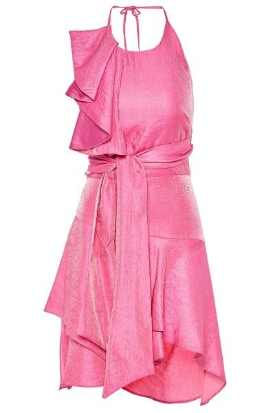Φόρεμα Που Δένει Στο Λαιμό Με Μακριές Ζώνες Και Ασύμμετρη Φούστα Βολάν