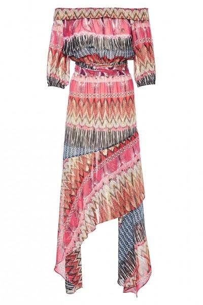 Κοντομάνικο Φόρεμα Με Ακάλυπτους Ώμους Και Ασύμμετρη Φούστα Βολάν