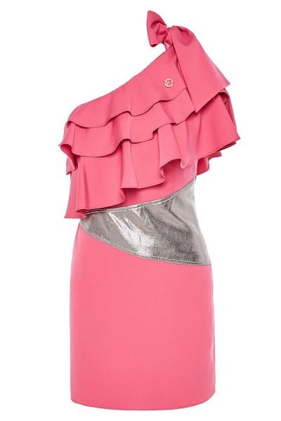Κοντό Φόρεμα Εβαζέ Με Γιακά Τσόκερ Και Βολάν Σε Πολλαπλά Επίπεδα