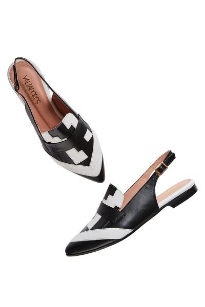 Μυτερά Παπούτσια Στρωτά Με Ζωνάκι Και Γεωμετρικά Μοτίβα