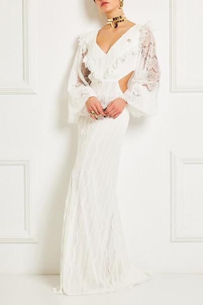 Μακρύ Φόρεμα Δαντέλα Με ΠλαΪνά Ανοίγματα Και Μακριά Μανίκια Φούσκα