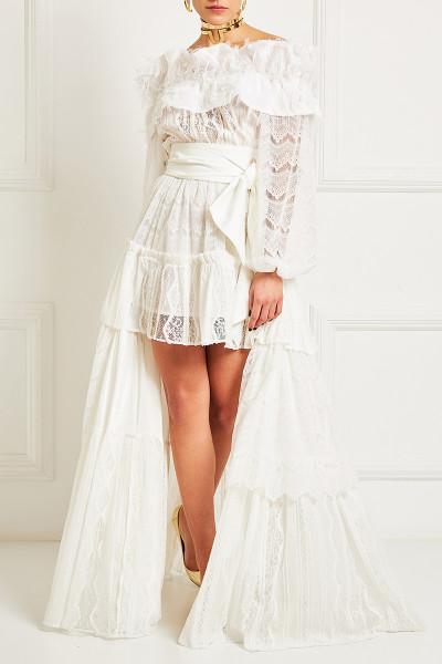 Ασύμμετρο Φόρεμα Δαντέλα Με Επάλληλα Βολάν Και Λεπτομέρεια Με Κρόσσια Στο Ντεκολτέ