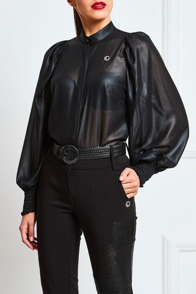 Πουκάμισο Leather-Chiffon Με Μανίκι Σφιγγοφωλιά