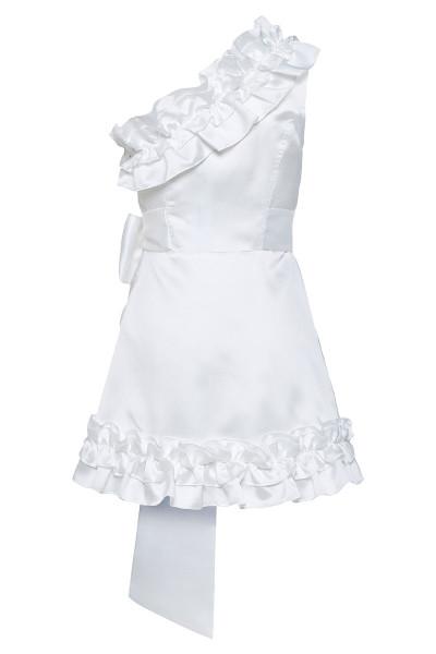 Κοντό Φόρεμα Με Έναν Ώμο Και Λεπτομέρειες Βολάν