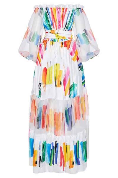 Φόρεμα Έξω Ώμοι Εμπριμέ Με Εντυπωσιακά Μανίκια Και Ασύμμετρο Μήκος