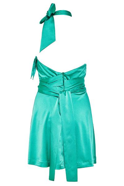 Κοντό Φόρεμα Εβαζέ Με Δέσιμο Χιαστί Και Λεπτομέρεια Βολάν