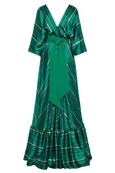 Μακρύ Φόρεμα Ριγέ Με Φουσκωτά Μανίκια Και Τελείωμα Βολάν