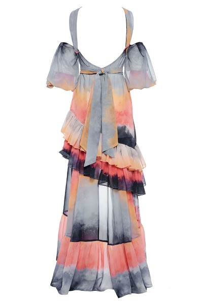 Φόρεμα Εξώπλατο Με Ασύμμετρο Μήκος Και Έντονα Μανίκια Balloon