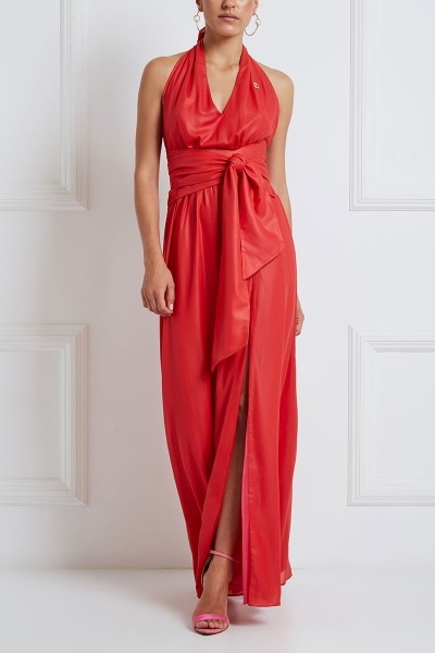 Φόρεμα Εξώπλατο Με Δέσιμο Στο Λαιμό Και Ασύμμετρη Τριγωνική Ζώνη