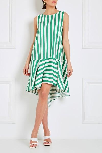 Αμάνικο Φόρεμα Με Στρογγυλή Λαιμόκοψη Και Ασύμμετρες Πιέτες