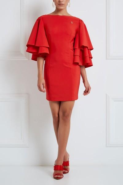 Κοντό Φόρεμα Στενό Με Ασύμμετρα Μανίκια Βολάν Σε Πολλαπλά Επίπεδα