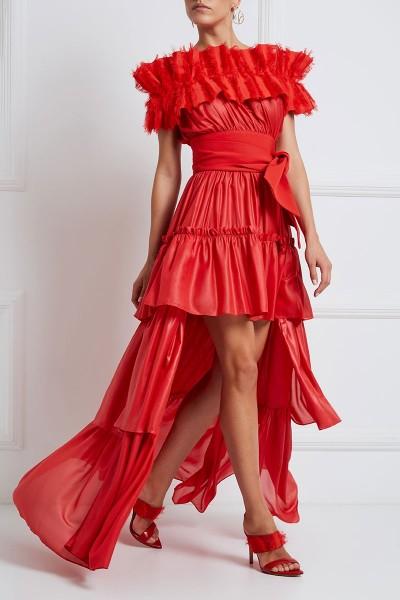 Ασύμμετρο Φόρεμα Με Επάλληλα Βολάν Και Λεπτομέρεια Με Κρόσσια Στο Ντεκολτέ
