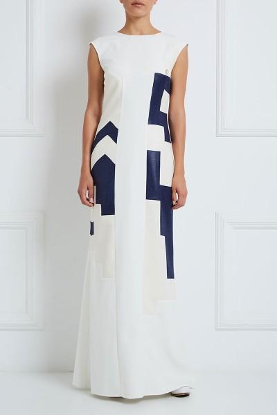 Μακρύ Κρεπ Φόρεμα Με Λινά Γεωμετρικά Μοτίβα