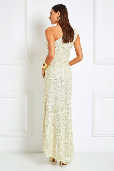 Draped-Shoulder High Slit Sequined Dress