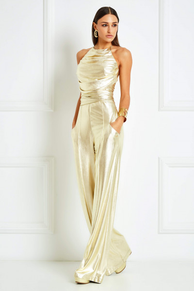 Mirror-Gold Draped Halterneck Crop Top With Plunging Back & Belts